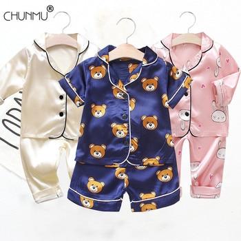 Children's Pajamas Set Baby Boy Girl Clothes Summer Sleepwear Set Kids Cartoon Printed Tops+Shorts Toddler Clothing Sets 1