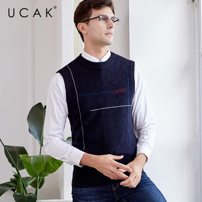 UCAK Brand Pure Merino Wool Sweater Vest 2019 New Arrival Casual Autumn Winter Pull Homme Streetwear Warm O-Neck Sweaters U3113