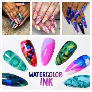 Image 4 - Makartt בצבעי מים דיו פורח לק קסם פריחת פולני מניקור ערכת לעבוד עם שקוף השיש דפוס להיעלם