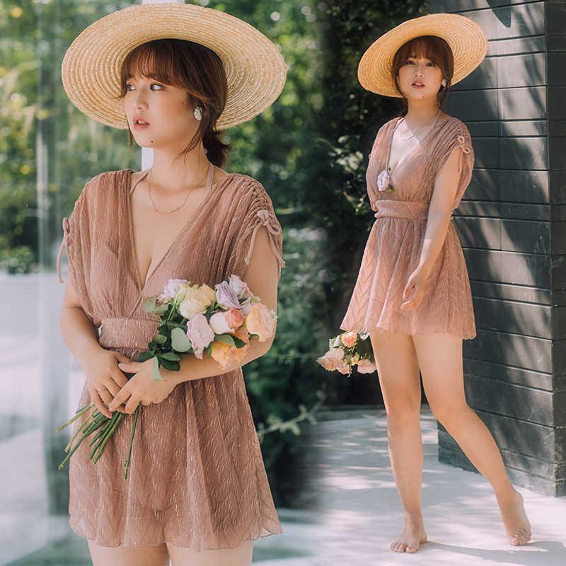 2020 chique chiffon saia maiô sólido de uma peça de banho feminino push up v neck senhoras maiô elegante swimdress plus size