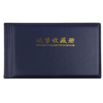 20 kieszenie banknotów znaczki waluty kolekcję książek stronie zdjęcie pieniądze papierowe Album monety skóra Note posiadacze gotówki przechowalnia tanie i dobre opinie Other Wiązanie termiczne Wiskoza albumu fotograficznego 80 Interleaf rodzaj Dark Blue Plastic Approx 210x125mm