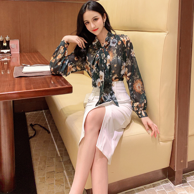WOMEN'S Dress 2019 Summer Ol Career Elegant Printed Chiffon Blouse High-waisted Sheath One-step Skirt Set Sell