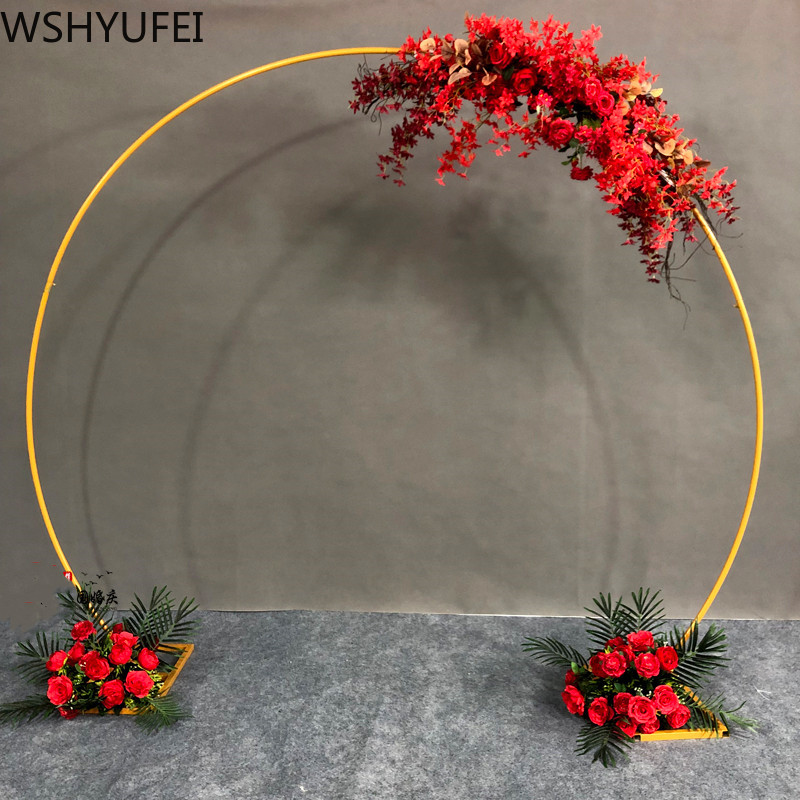 Wedding Props Christmas Birthday Party Decor Wrought Iron Circle Round Ring Arch Backdrop Arch Lawn Artificial Flower Shelf
