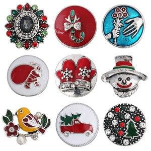 10 unids/lote nuevo botón a presión joyería diamante de imitación árbol de Navidad calcetín muñeco de nieve Santa Claus 18mm botón a presión de Metal para pulsera a presión