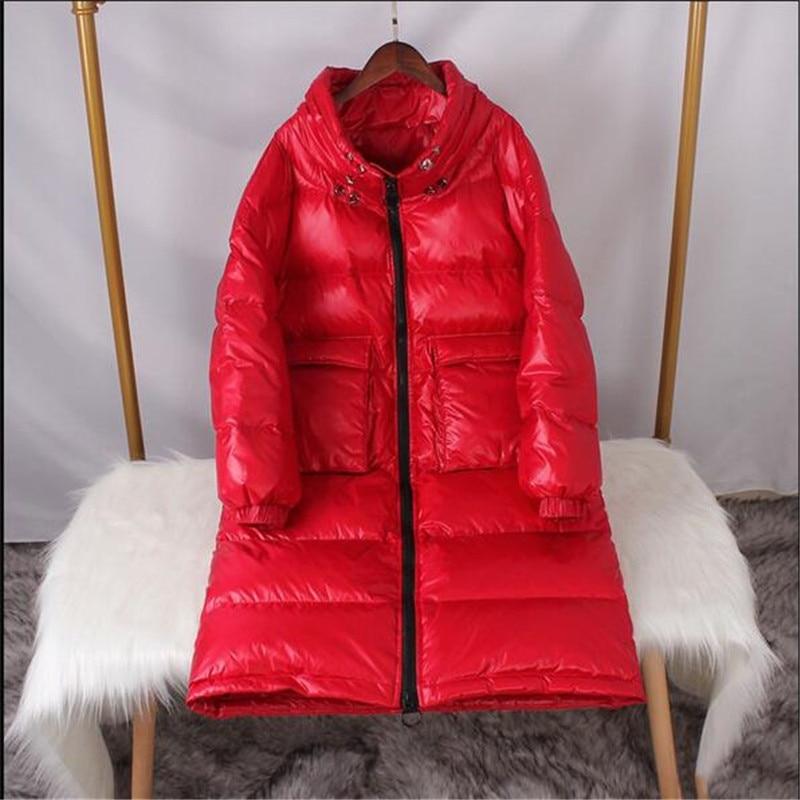 New Women Long   Coat   Winter White Duck   Down   Parkas Stand Collar Outwear Zipper Big Pocket Jacket Warm   Down     Coat