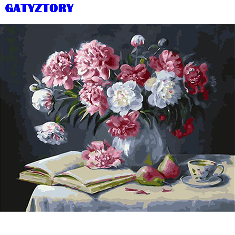 GATYZTORY Frame Modern DIY Oil Painting By Numbers Flower Picture Art Floral Canvas Wall Hand Painted Home Decoration
