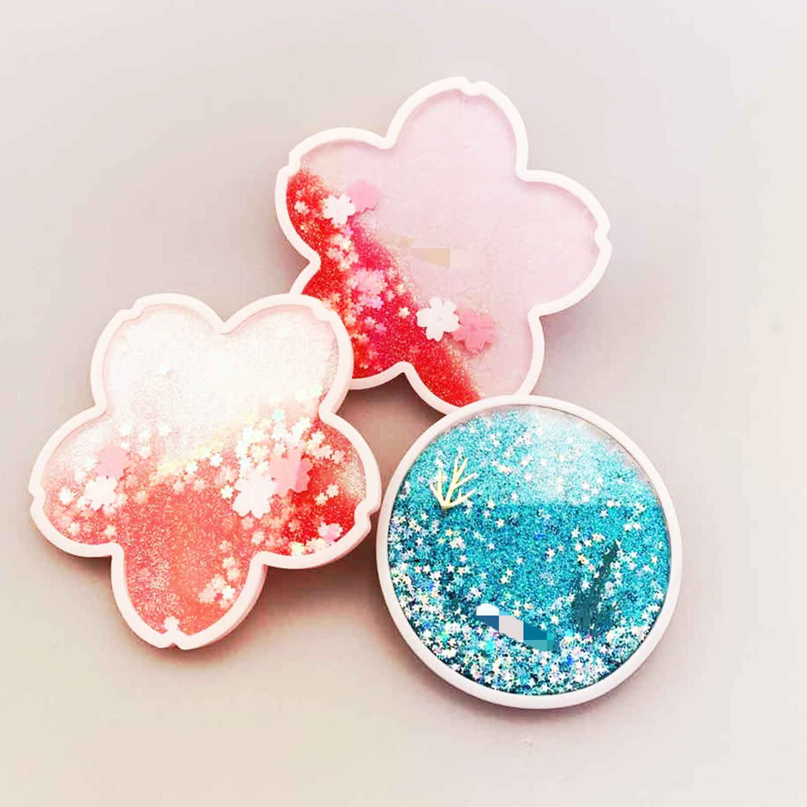 Glittery Sakura Quicksand Drink Mat 4
