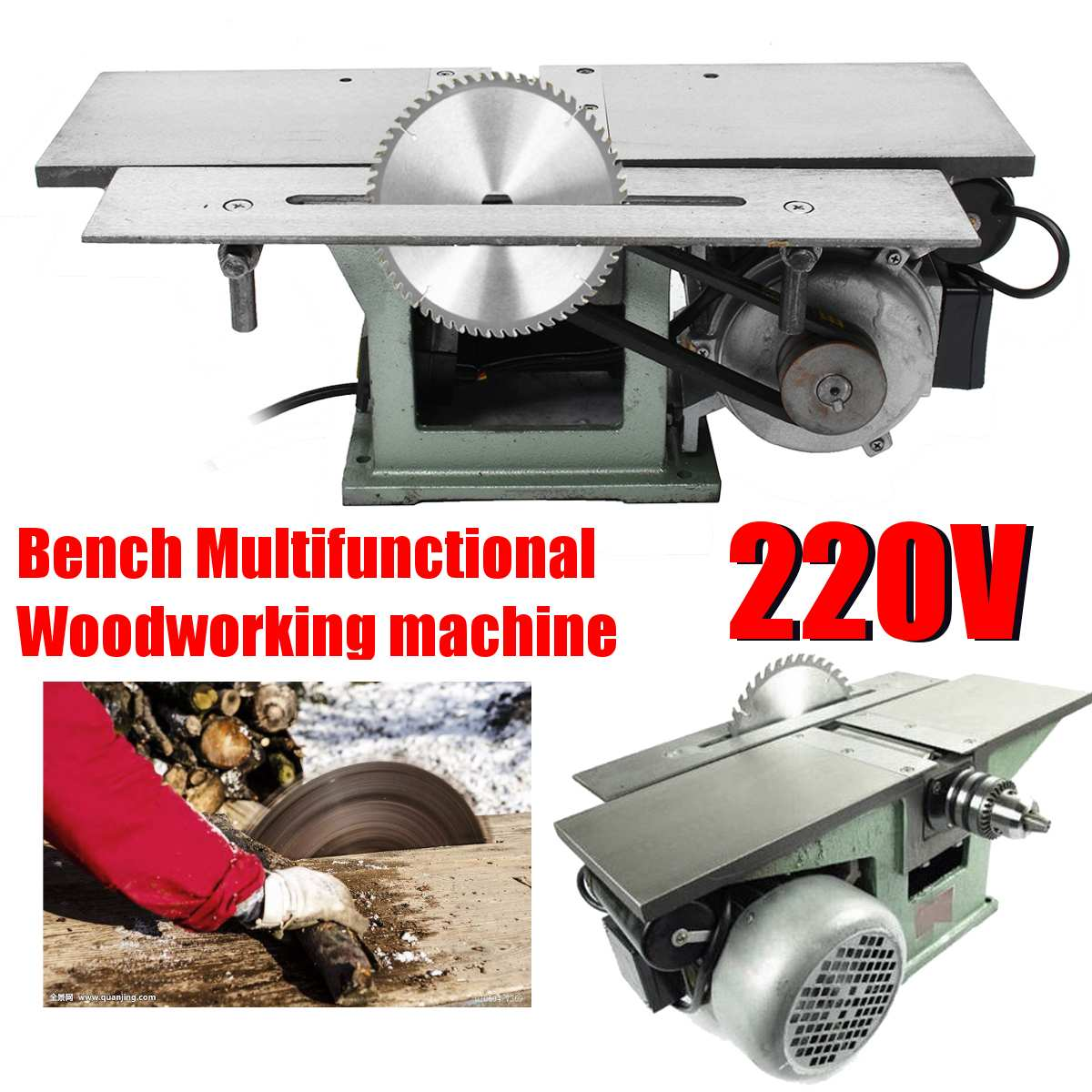 220V Woodworking Machine Multi-function Table Woodworking Planing Saw Table Drill Body Cutting Machine Electric Planer 3 In 1