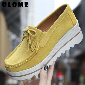 Image 5 - 2020 Spring Women Flats Shoes Platform Sneakers Slip On Flats Leather Suede Ladies Loafers Casual Shoes Women loafers shoes