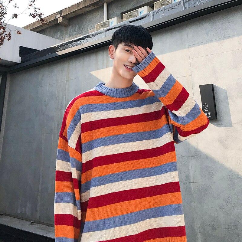 2019 Autumn New Korean Men's Street Fashion Main Push Tide Brand Loose Rainbow Striped Round Neck Couple Casual Pullover Sweater