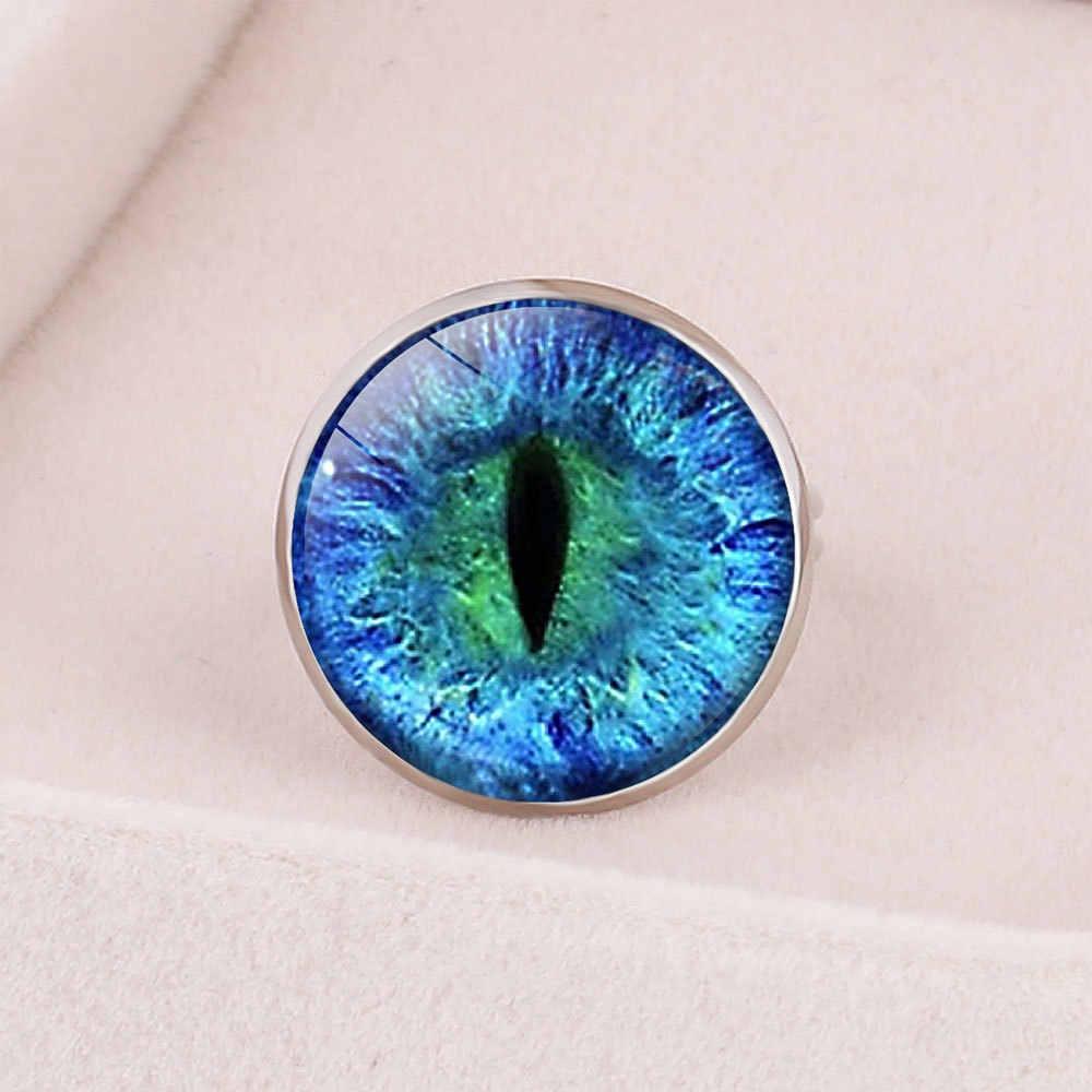 Vintage Blue สีเขียวอัญมณีตาแหวน Chakra Henna แก้วโดม Cabochon แหวนโยคะ Mandala แหวนอินเดียเครื่องประดับ