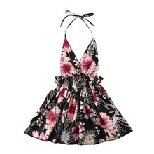 1-6Years Toddler Kid Baby Girl Floral Halter Ruffle Dress Backless Dresses Sundress Beach Party hot Sale hot sell christmas blue nativity dress boutqiue baby girl hot style dresses