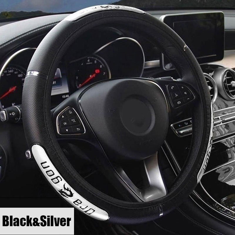 Image 4 - Universal Cool Chinese Dragon Design Car Steering Wheel Covers Reflective Pu Leather Steering Wheel Covers Busines  accessories-in Steering Covers from Automobiles & Motorcycles