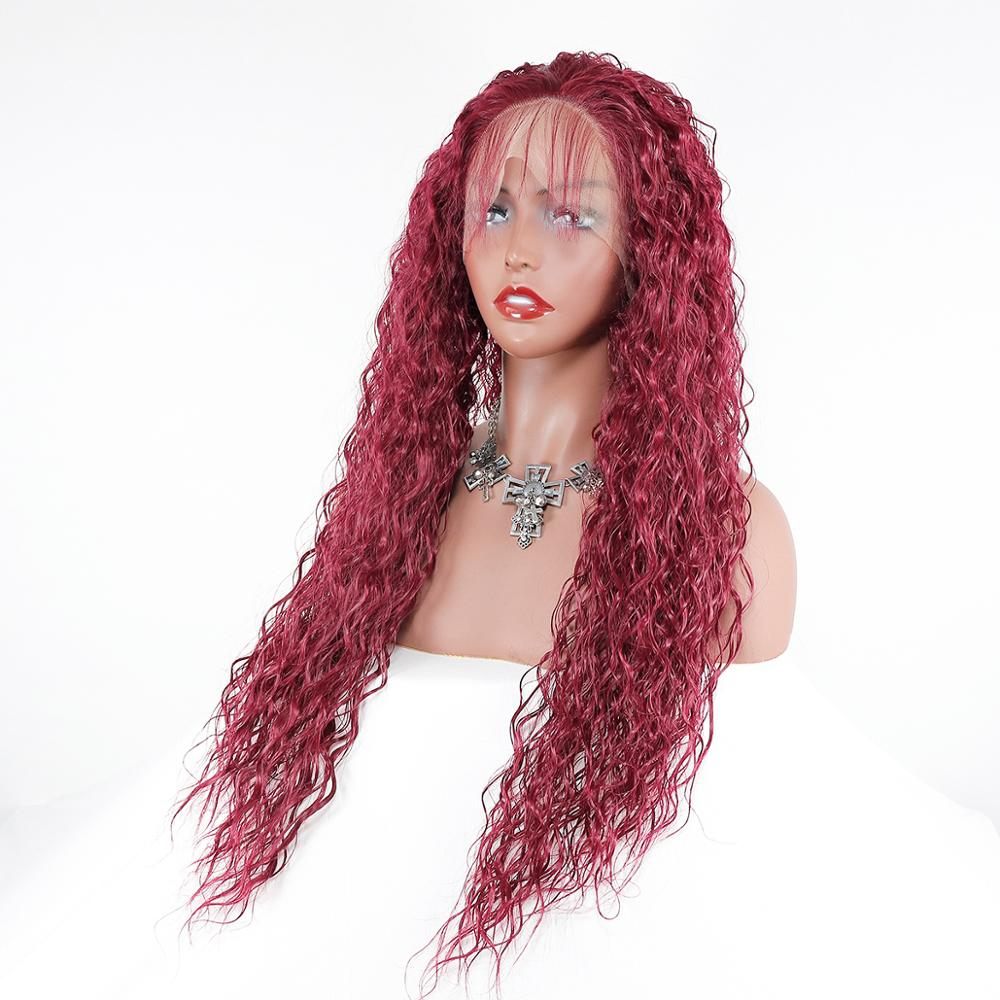 13x4 Lace Front Wig Human Hair 99j Dark Wine Colored Human Hair Curly Wigs Free Part Brazilian Remy Hair Wig For Women 1
