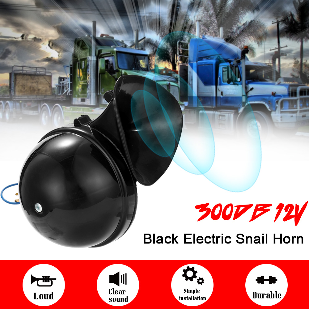 Car Styling Loud 300DB 12V 24V Black Electric Snail Horn Air Horn Raging Sound For Car Motorcycle Truck Boat(China)