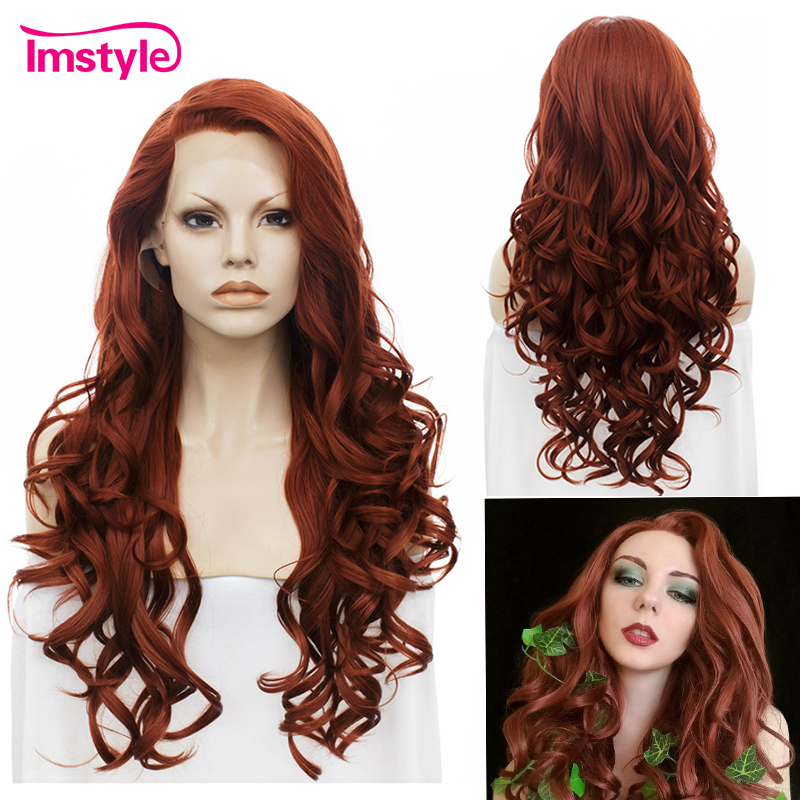 Imstyle Dark Red Wig Lace Front Wigs For Women Long Wavy Synthetic Lace Hair Wig Heat Resistant Fiber Glueless Cosplay Wigs