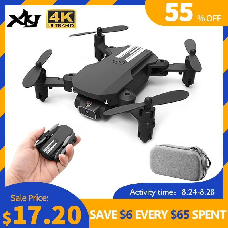 XKJ 2020 nuevo Mini Drone 4K 1080P HD Cámara WiFi Fpv presión de aire mantenimiento de altitud negro y gris plegable Quadcopter RC Drone juguete