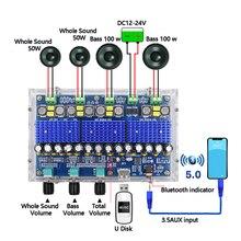 Bluetooth 5.0 TDA3116D2 dijital amplifikatör kurulu dört kanallı çift bas çift Stereo 2*50W + 2*100W ses amplifikatörleri ile Tuning