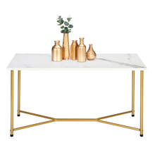 Marble Square Table Top Gold Foot Iron Coffee Table Side Table White HODELY Single Single
