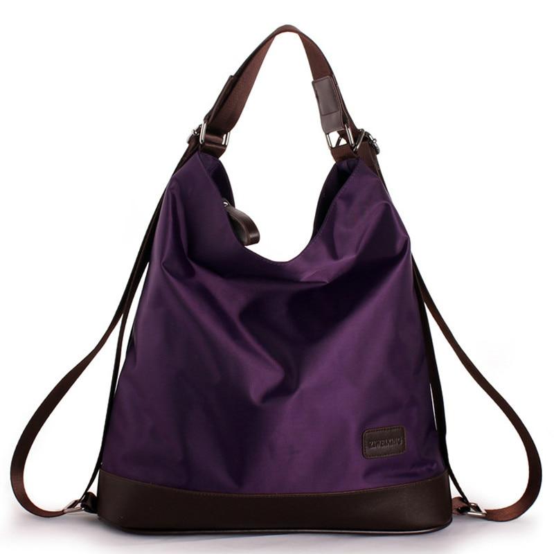 2019 New Fashion Women Nylon Handbag Multifunction Waterproof Shoulder Bag Famous Designer Purple Bags Large Shopping Tote A2-08
