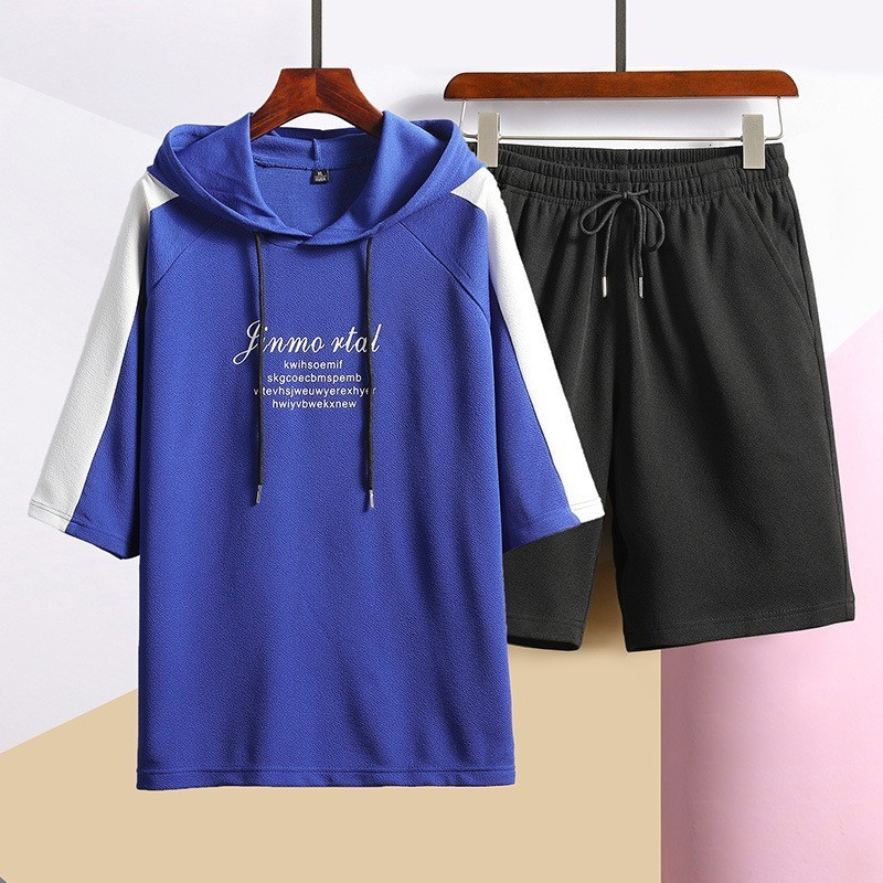 Mens Half Sleeve Hooded Letter Printed Panelled Pullover T-Shirts Drawstring Pockets Shorts Male Two Piece Loose Sets Plus Size