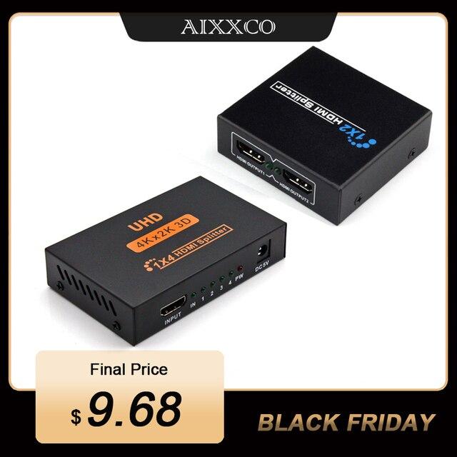 AIXXCO HDCP 4k rozdzielacz HDMI Full HD wideo 1080p przełącznik HDMI przełącznik 1X2 1X4 podzielić 1 w 2 na zewnątrz wzmacniacz wyświetlacz do telewizora HDTV DVD