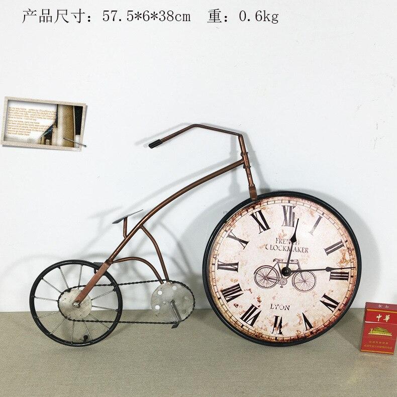 American Retro Industry Creative 3D Metal Bike Hanging Wall Alarm Clock Iron Bicycle Decorative Craft Clocks Home Detor