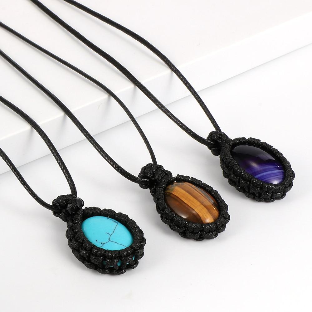 2020 Fashion Natural Stone Pendant Necklace For Men Women Wax Line Wrap Drop Shape Tiger Eye Opal Stone Necklaces Short Choker