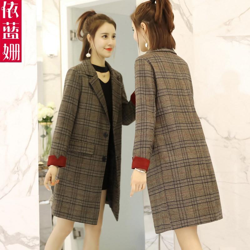 Autumn Windbreaker Female Medium And Long Korean Version Autumn 2018 New Popular Small Chic Plaid Suit Coat Tide