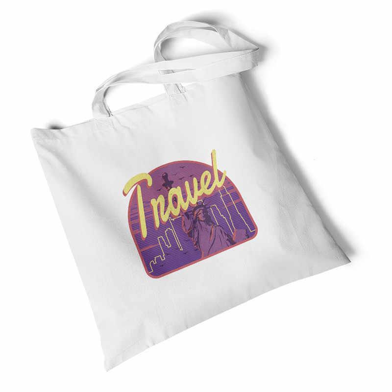 Focal20 市プリントキャンバスバッグショルダーバッグ旅行折りたたみバッグキャンバスバッグショッピングバッグ再利用可能なショルダーバッグハンドバッグトートバッグ