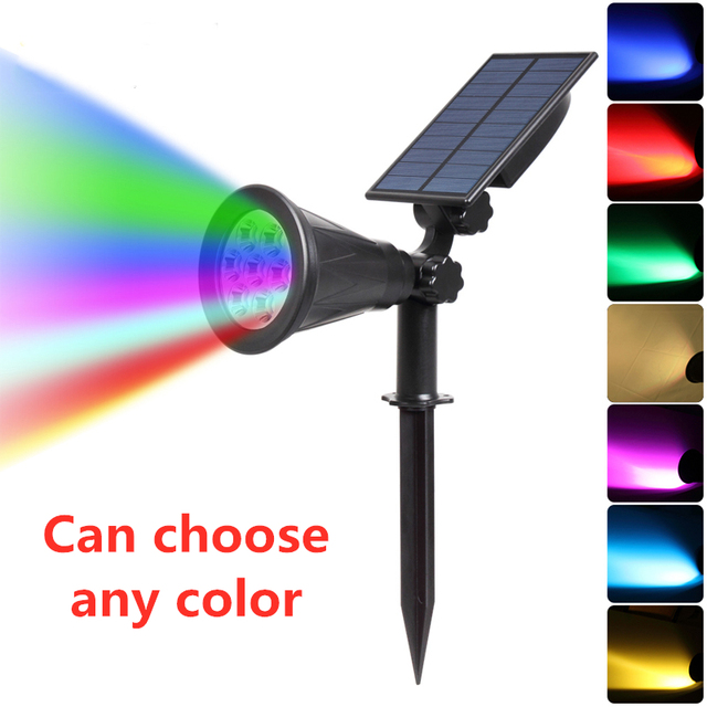 T SUNRISE 7 LED Solar Spotlight Auto Color Changing Outdoor Lighting Garden Solar Lamp Landscape Wall Light for Decoration