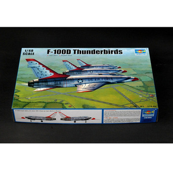 цена на Trumpeter 02822 1/48 Scale F-100D in Thunderbirds livery Fighter Plane Airplane Aircraft Toy Plastic Assembly Model Kit