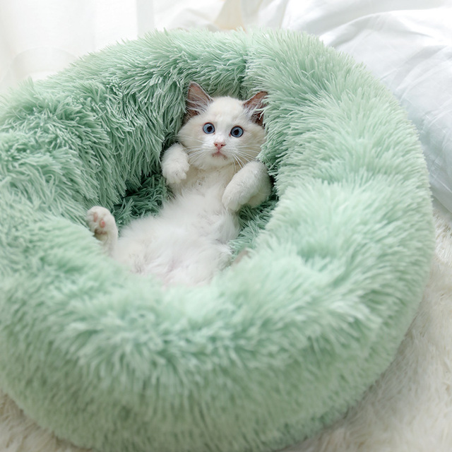 Dog Pet Bed Kennel Round Cat Bed Winter Warm Dog House Sleeping Bag Long Plush Super Soft Pet Bed Puppy Cushion Mat Cat Supplies 1