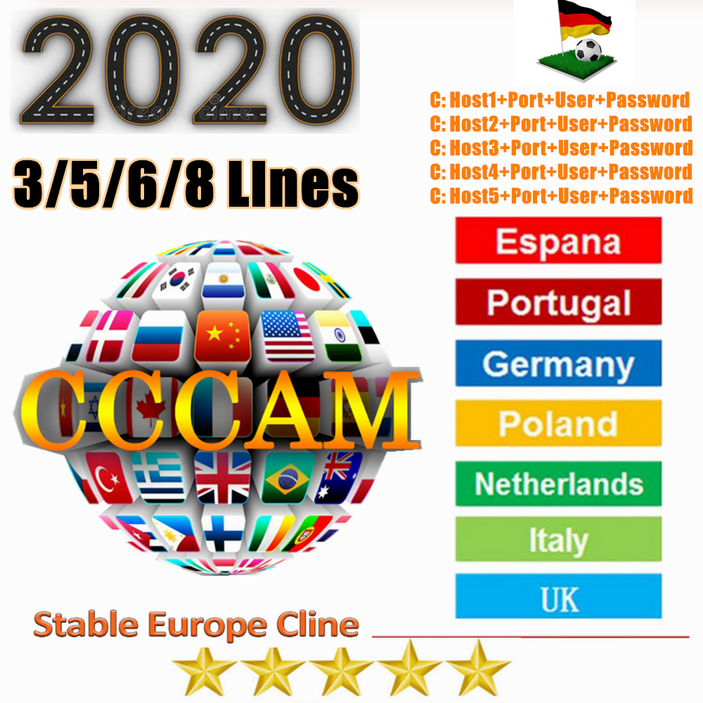 3/5/6/7 C-lines Spain Cccam Cline Oscam For 1Year Europe Portugal Poland Czech CCAM Server For DVB S2 Satellite Receiver GTMEDIA