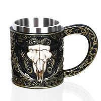1 pièces créatif crâne tasse 450 ml/15 oz Viking Ram corned Pit Lord guerrier bière Stein Tankard café tasse thé tasse Halloween barre cadeau