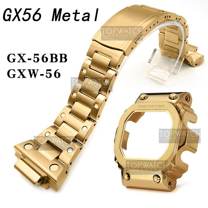 2rd gx56 bezel caso 316 pulseiras de aço inoxidável e moldura para gx56bb GXW-56 pulseira de metal moldura pro quadro ferramentas retro preto