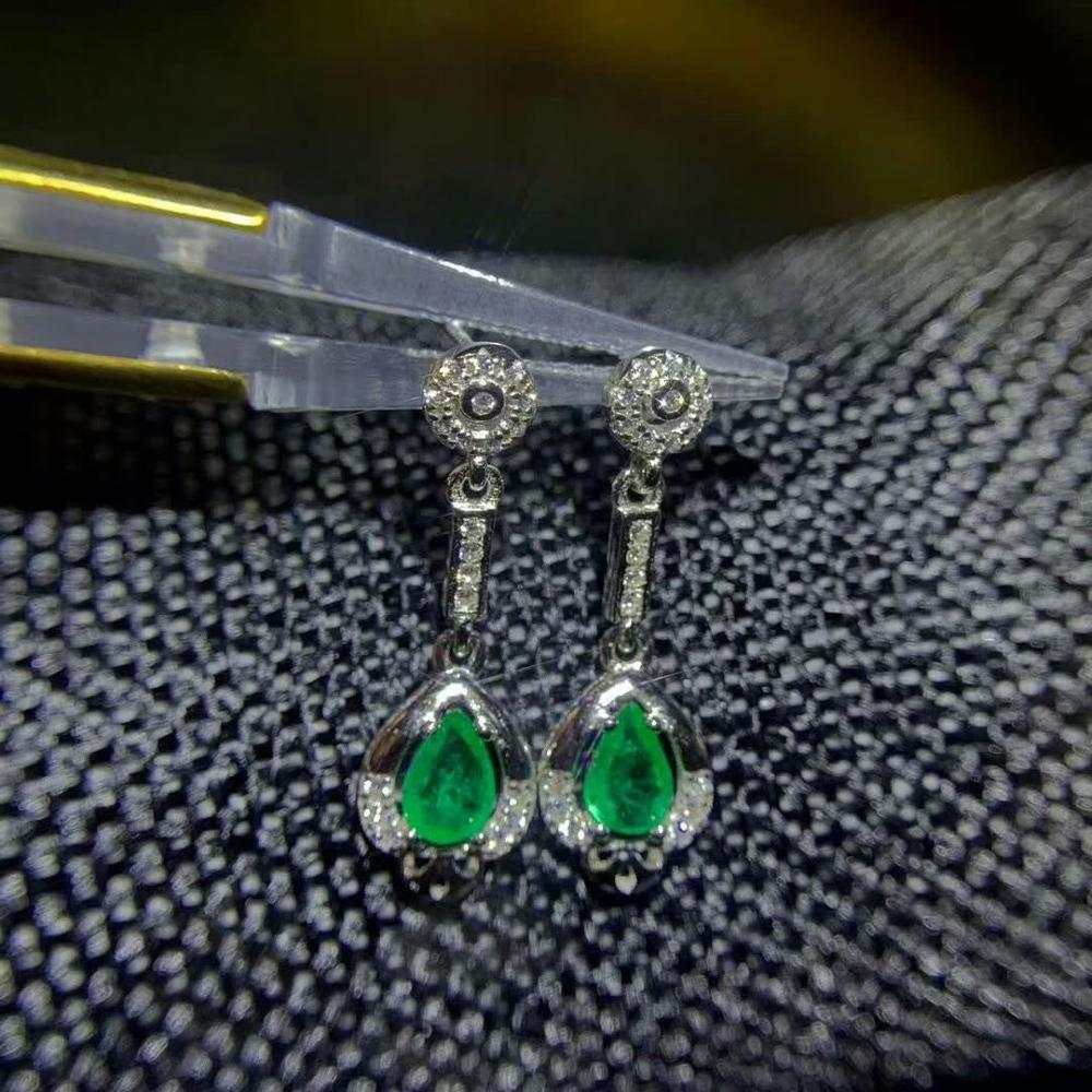 SHILOVEM 925 sterling silver real Natural Emerald stud earrings classic fine Jewelry new wedding 4 6mm de0406229agml in Earrings from Jewelry Accessories
