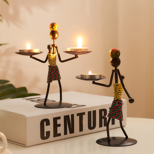 Vintage Candle Holders Home Decoration Metal People Model Candelabros Decorative Creative Candlestick Party Wedding Centerpices 3