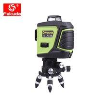 Fukuda бренд 12 линий 3D 3GX лазерный уровень самонивелирующийся 360 горизонтальный и вертикальный крест супер мощный зеленый лазерный луч