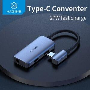 Image 1 - Hagibis Typ C conventer USB C zu 3,5mm Kopfhörer jack Adapter PD schnelle ladung typ c audio für Huawei P30 pro Xiaomi Oneplus