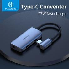 Hagibis Type C منظم USB C إلى 3.5 مللي متر سماعة جاك محول PD سريع تهمة نوع c الصوت لهواوي P30 برو شاومي Oneplus