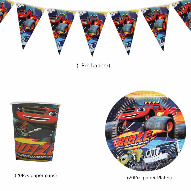 Blaze Monster Machines Verjaardagsfeestje Wegwerp Servies Set Banner Papier Cups Platen Kids Gunsten Baby Shower Feestartikelen