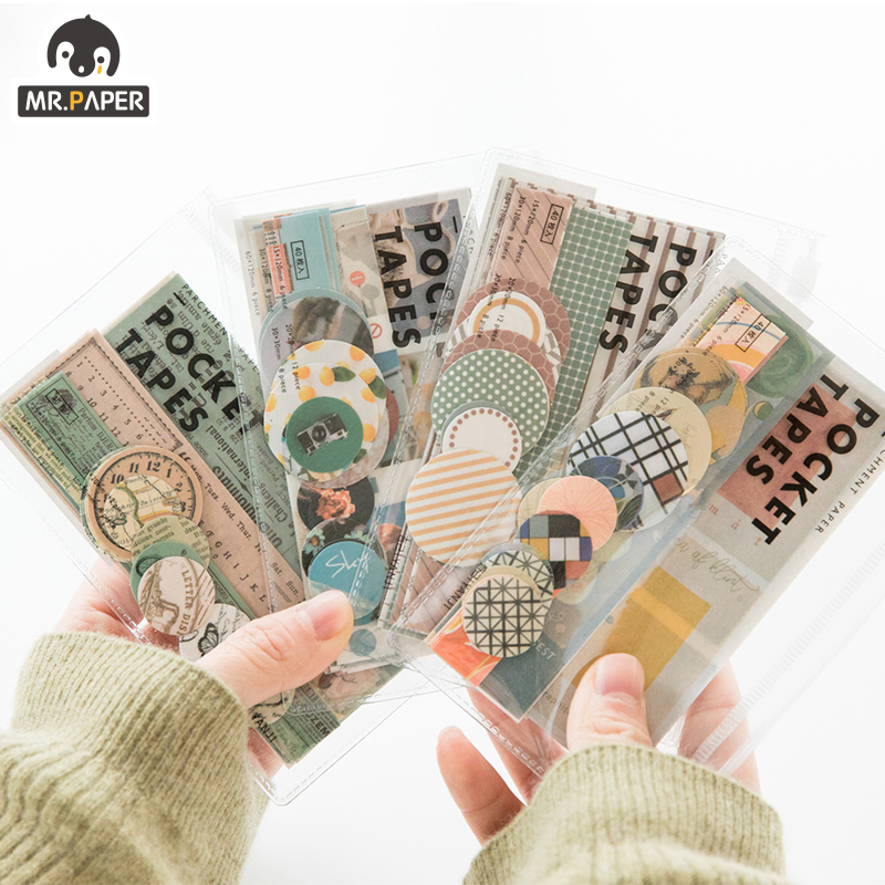 Mr.paper 4 Designs 40Pcs/lot Vintage Sights Simple Stripe Pocket Tape Deco Stickers Scrapbooking Bullet Journal Deco Stickers 1