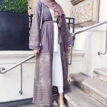 이슬람 오픈 Abaya 자수 메쉬 두바이 긴 가운 Hijab 드레스 여성 Caftan 레이스 업 기모노 주바 이슬람 의류 아랍 Outwear