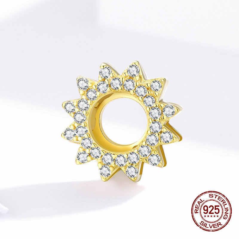 Xác thực nữ bạc 925 trang sức phù hợp với ban đầu Pandora dây Reflexions Vòng tay charm hoa hướng dương trong suốt sáng bóng CZ hạt làm