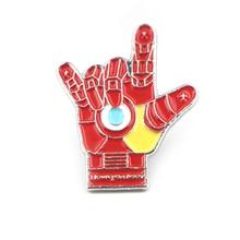 Iron man love gesture cartoon Enamel Pin Medal Brooch For Women Men DIY Hat Cloth Backpack Decoration Lapel Badges Jewelry E0665