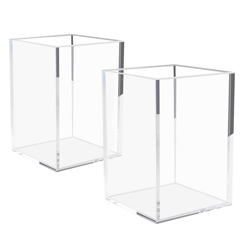 Acrylic Pen Holder 2 Pack,Clear Desktop Pencil Cup Stationery Organizer For Office Desk Accessory