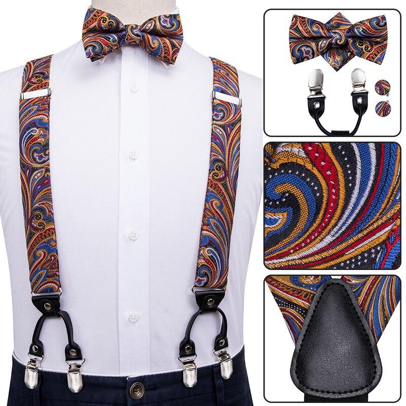 Hi-Tie Silk Adult Men's Suspenders Set Leather Metal 6 Clips Braces Gold Brown Paisley Luxury Men Elastic Wedding Suspenders Men