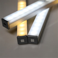 Tira de luces LED de 21cm, 29cm, 14 cm, 20 LEDs de largo, luces de armario magnéticas, Sensor de movimiento, lámpara de armario para cocina y armario