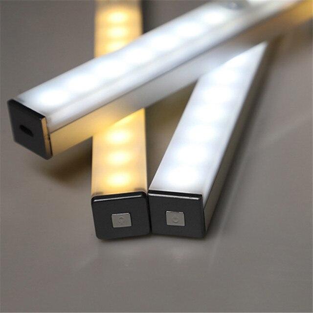 21cm 29cm 14 LEDs 20 LEDs Long Strip Under Cabinet Light Magnetic Closet Lights Motion Sensor Closet Lamp For Kitchen Wardrobe